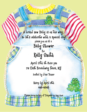 A great baby announcement for a baby boy.  Designed with fun overalls with a frog on the knee and trimmed with plaid, this makes a great paper for baby announcements or babys first birthday.  envelopes sold seperately.