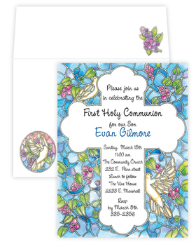 A brilliant and colorful design that depicts a stained glass cross. It is surrounded by doves and grapes on the vine with a blue background.  The coordinating envelope has one of the stained glass birds in flight and grapes on the flap.<p>Premium quality cardstock includes coordinating envelope shown.  Inkjet/laser compatible and available blank or personalized.</p>