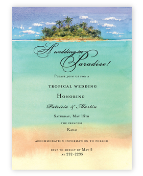 A tropical wedding is in site! send your announcement on this great invitation that is designed with a island ahead and the tropical waters in the center and just the edge of beach front.  Perfect for a save the date announcement, a tropical wedding invitation or a tropical party.  Includes coordinating envelope. <br>