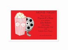 Start the fun with your next event by sending this colorful new design!  Yummy popcorn and a film reel stand out boldly against a vivid red background and there is a large area for your personalization along the right side.  Perfect for a movie-themed party or slumber party!  White envelopes are included.