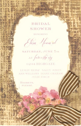 This versatile invitation features a rustic brown border with pretty pink flowers clustered at the bottom.  A brown and cream ribbon is inserted in the pre-cut openings.  What a beautiful way to announce your bridal shower or special event!  Printed on premum quality ecru cardstock and compatible with most inkjet/laser printers.  Ribbon is included, requires assembly.  Envelopes are included.