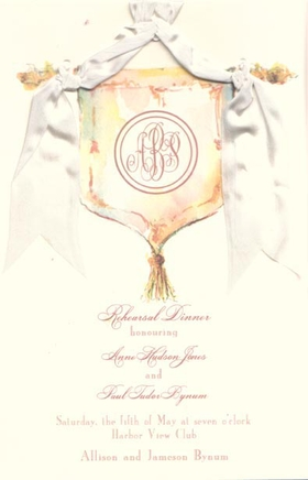This elegant design features a colorful banner with your monogram printed in the center and sophisticated gold accents.  A silky white ribbon is intertwined through pre-cut holes in the cardstock, to add a sophisticated touch.    Printed on premum quality ecru cardstock and compatible with most inkjet/laser printers.  Ribbon is included and requires assembly.  Envelopes are included.