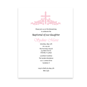 Beautifully created with a delicate pink cross and foilage accent on a premium white laser paper.  Perfect for a little girls first holy communion or a baptismal.  envelopes are available but sold seperately.