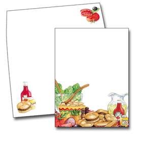This delicious invitation has everything needed for a successful summer barbeque:  hamburgers, hot dogs and cold lemonade!  Start your summer party off right with these fun invitations!<br><br>Printed on premium quality white cardstock and the coordinating envelopes are included.
