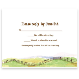 A coordinating response card for 4567 Barbeque invitation. This response card coordinates with the western themed invitation.  Includes a white envelope.