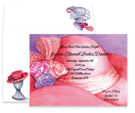 invitations ladies only themes invitations fancy pink hat
