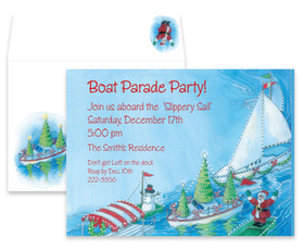 This festive holiday invitation features a colorful boat parade complete with lights and Santa Claus!  Printed only on premium quality 80# cardstock, the coordinating envelope is included.  Both are easily printed on your inkjet/laser printer or let us print them for you!