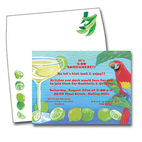 This vibrant design features a frosty margarita and colorful parrot against an ocean-blue background.  This invitation is perfect for your tropical party!  Available blank or personalized.  The coordinating envelopes are included.