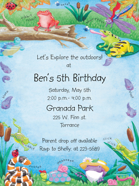 This fun and colorful design features all of the critters you might find near the lake: frogs, turtles, a dragonfly and bright red lady bugs.  Perfect for your little ones birthday party or lake outing!  Our premium quality cardstock is easy to print on your inkjet/laser printer or we can personalize them for you.  Envelopes are included.<br><br>