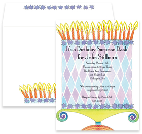 What a great surprise! This invtitation is perfect for a surprise party bash for your friends or family.  Created with a giant eclectic cake on the front with blazing candles on the top, this will sure to let your guests know that they are gonna have a blast.  Includes a coordinating envelope.
