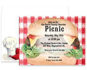 Grilling up some fun!  This great invtitation is designed at a big delicious hamburger with all the trimmings.  Perfect for family picnics, reunions, company picnics, BBQ, or Grilling party.  Includes a coordinating envelope.