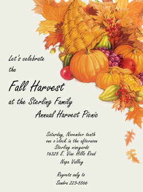 This beautiful harvest themed invitation is designed with a cornicopia filled with fall favorites such as pumpkins, gourds, fall leaves and apples. coordinating envelope. <br>