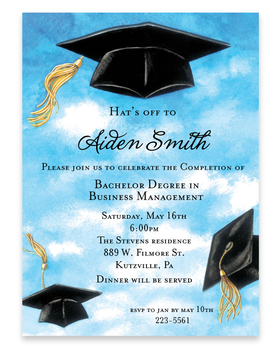 Graduation caps flying high in the air.  This great invitation is perfect for the grad party!  Designed with Caps flying in the sky in celebration of completion.  Includes a coordinating envelope.