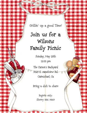 Blank Picnic Invitation Product Image For BBQ Apron