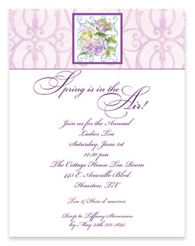 Beautiful and perfect for spring.  This elegant laser paper is perfect to send your announcement with a floral flare. Designed with an elegant scroll design band at the top and completed with a purple hydrangea in the center. <br>Coordinating envelopes are sold seperately.