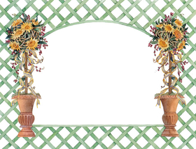Start your spring celebration with this beautiful invitation!  The border is a festive green trellis pattern and two topiary trees with pretty yellow flowers stand on either side.  Perfect for a spring bridal event or ladies luncheon!  Available blank or personalized and envelopes are included.