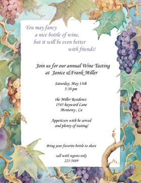 This beautiful Grape vine bordered paper is elegant with Rich with color and perfect for an cocktail party, wine tasting party, wine party, or wine and cheese party.  envelopes are sold seperately.