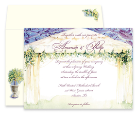 This elegant design features an illuminated canopy against a blue night sky.  Clusters of beautiful flowers and greenery border the canopy. This invitation is perfect for your bridal shower or rehearsal dinner!  Available blank or personalized and the coordinating envelopes are included.