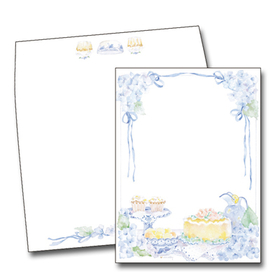 This lovely Nancy Parker design features a a colorful tabletop filled with delicious pastries and sweet tea.  Clusters of blue flowers decorate the corners and slim blue ribbons create a border around your personalization area.  This invitation is perfect for a ladies luncheon or spring time event!  Available blank or personalized and the coordinating envelopes are included.