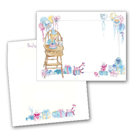 This adorable design features a teddy bear having a wonderful birthday party!  Colorful balloons, gifts wrapped in bright patterns, and the stuffed animal guests all set a very festive scene!  Perfect for your little ones special day!  Available blank or personalized and the coordinating envelopes are included.