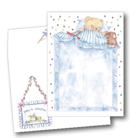 This adorable design features a sweet teddy bear under a fluffy blue blanket with a colorful star border.  Perfect for a baby shower invitation or baby boy birth announcement!<br><br>Our premium quality cardstock is easy to print on your inkjet/laser printer or we can print them for you.  Coordinating envelopes are included.
