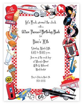 Invitations Decades Invitations Stationery Fifties Theme Paper