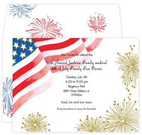 The sparkles on the card wave with the wind.  This is an all American 4th of July or patriotic invitation and  includes a specialty, coordinating envelope. <br>