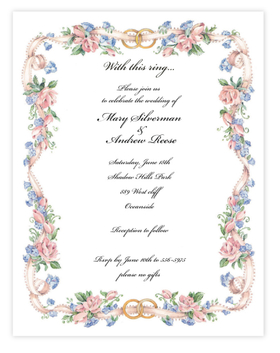 Two gold rings adorn the top of this beautiful floral border that is created with delicate pink flowers with a pale pink ribbon. Perfect for any engagement party or wedding shower announcement.  envelopes are available but are sold seperately.
