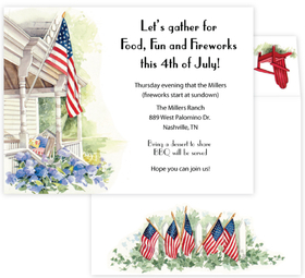 A traditional design of a white country house that proudly desplays the US flag at its front steps.  What a great way to celebrate the Fourth of July!  Includes coordinating envelopes. <br>