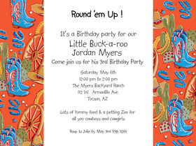 Great western invitation , perfect for a westerned themed bbq, cowboy themed party.  Designed with a unique look of western boots, hat and wagon wheel on the borders creating a fun borders for your personalization.  Includes a coordinating envelop.