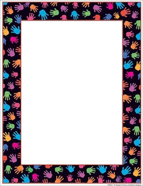 ****Limited Stock Available****<br><br><br>Designer paper that has a bold black background and multi colored hand prints around the entire border with a thin red inner border.  Envelopes are sold seperately.
