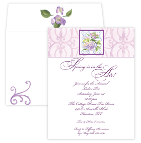 A beautiful invitation for a spring wedding.  This elegant invitation is designed with a lavender scroll on the background and an arrangement of Hydrangea flowers in the center creates a perfect invitation for a wedding or bridal shower.  Includes coordinating envelops.