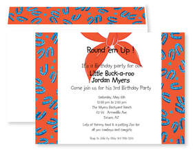 Great western invitation , perfect for a westerned themed bbq, cowboy themed party.  Designed with a unique look of western horseshoes  and Stars on each side and a bandana tied around the top to give an added fun cowboy feel.   Includes a coordinating envelop.