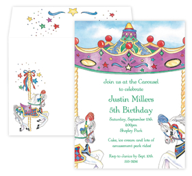 This Carousel invitation is perfect for celebrating your childs birthday with a day at a carnival or park.  Designed with a carousel horse on each side and in the center is space for you to create your perfect invitation.  Include a coordinating envelope.
