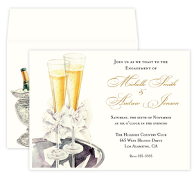 This formal design features two bubbly champagne flutes on a silver tray and tied with festive white bows. This invitation is the perfect start to your your elegant event! <br><br>Printed on premium quality ivory carstock and coordinating envelopes are included.