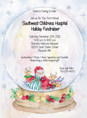 A beautiful holiday invitation with a watercolor look of a giant snow globe and santa and reindeer sitting in the center.  a coordinating envelope is included.
