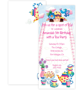 A fun and whimsical invitation with a little girl looking over a table set for tea with a colorful setting made for the occasion.  Includes a coordinating envelope.