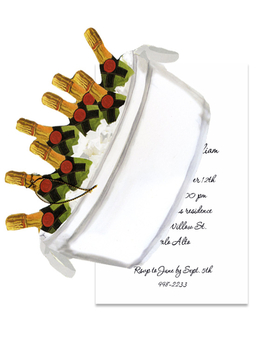 Celebrate with a bottle of bubbly and let the spirits flow!  this great invitation is designed as a die cut image of champagne in an ice bucket with an attachable card that is for your personalized text.  Attach the two cards together with a gold string to complete this look.  Perfect for an engagement announcement, rehearsal dinner, retirement party, or new years event.  Includes a white envelope.
