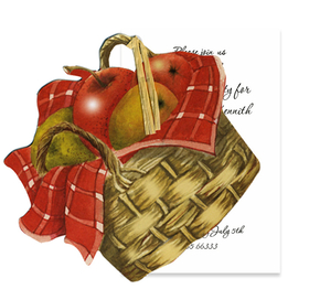 This beautifully designed basket of apples is the fruit of autumn and a perfect way to send a seasonal invitation.  includes a white card for your personalization and a rafia ribbon to attach the two.  Includes a white envelope. <br>