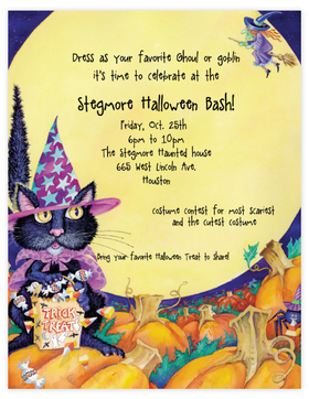 Fun Halloween laser paper that is designed with a cat sitting his treats in the full moon light.  Perfect for a halloween party or Halooween announcement.  Envelopes are available but sold seperately.<br>