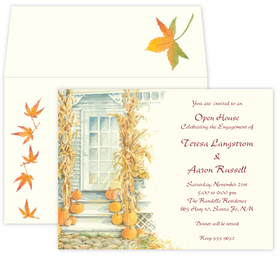 This invitation shows a warm and welcoming house ready to celebrate the fall season and bountiful harvest.  Printed on premium quality cardstock and includes coordinating envelope shown. Inkjet/laser compatible and available blank or personalized.