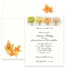 This beautiful design features a large tree as its leaves are turning the beautiful colors of Autumn.  This invitation is perfect for an Fall harvest or  Thanksgiving dinner!  Available blank or personalized.  The coordinating envelopes are included.