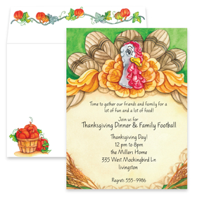 This invitationDesigned like a Thanksgiving turkey.  Colorful feathers, a pie crust, and garnished with wheat! This card is a delightful Fall holiday choice. <p>Premium quality cardstock includes coordinating envelope shown. Inkjet/laser compatible and available blank or personalized.</p>