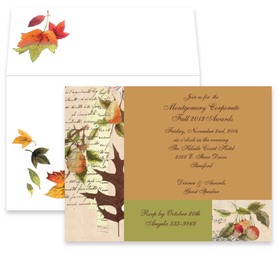 This beautiful design features all of the rich colors of fall in a sophisticated block pattern.  This invitation is perfect for both personal and business occasions.  The coordinating envelope is included.