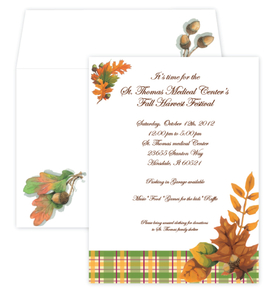 A fall plaid invitation with a cluster of fall colored leaves on the sides to set the theme for this invitation.  Perfect for a fall gathering of thanksgiving.  Includes a coordintating envelope.