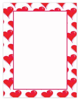 Valentines day is a day to celebrate love and what better way than with this fun paper.  Bordered with red hearts and a pink border.  A coordinating envelope is available but sold separately.