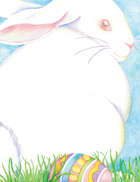 "Easters on its way! Invite your loved ones to an Easter egg hunt this year with one of our adorably cute laser papers! This one shows a fluffy white bunny resting in the grass with a colorfully painted egg at its feet, with a blue sky background. It looks like this Easter Bunny is already hiding its eggs... be sure to snag this paper before it hides that too! <p>Make an impression with our premium quality designer 8.5"" x 11"" paper & coordinating envelopes which are laser/inkjet compatible. Coordinating envelopes are sold separately.</p>"