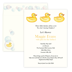 A great way to announce a baby shower to your guests! This great invitation is printed on Ivory card stock and has three duckies in a row on the top.  Perfect for any baby shower.  Includes a coordinating envelope .