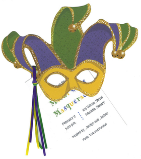 Get ready for Fat Tuesday! Great invitation is designed as a Die Cut Mardi Gras Mask with the traditional colors of gold and green and purple . Includes a white envelope.