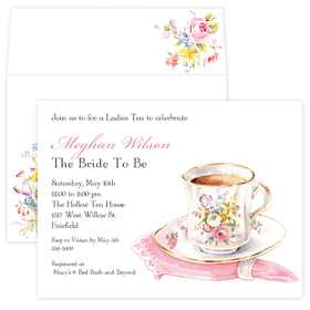 Perfect for a ladies tea or for a bridal shower tea.  beautifully designed tea cup sitting beside a pink napkin gives a delicate and sophisticated look to your invitation.   Available blank or personalized and the coordinating envelopes are included.